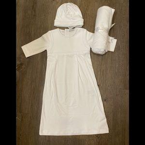 Kissy kissy gown set blanket hat christening